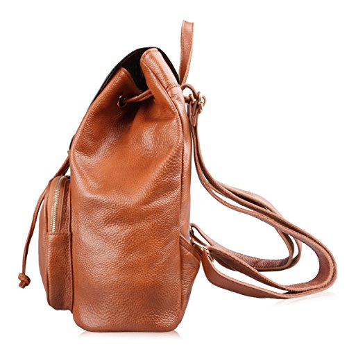 M752 Casual Cow Backpack backpack Black YEAR Genuine Brown Leather 1 GUARANTEE AB Womens ONE Handbag leather Earth Daily 6xqSw