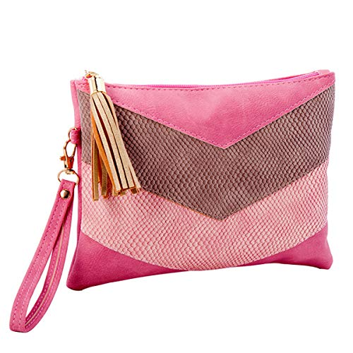 Patchwork Wristlet Purse - RARITYUS Snakeskin Stripe Envelope Clutch Bag Evening Party Prom PU Leather Handbag Purse Wristlet with Tassel