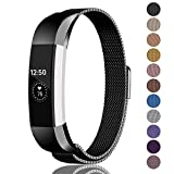 Fundro Compatible for Fitbit Alta HR Alta Band, Milanese Stainless Steel Metal Replacement Band Magnetic Lock for Women Men Small Large, Silver, Black, Rose Gold, Champagne