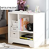 Log color bedside table Simple modern Multifunction Simple bedside table [lockers] Wood density board-A
