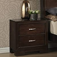 Roundhill Furniture Montana Modern Wood Night Stand, Walnut