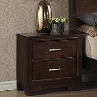 Roundhill Furniture Montana Modern Wood Night Stand, Walnut