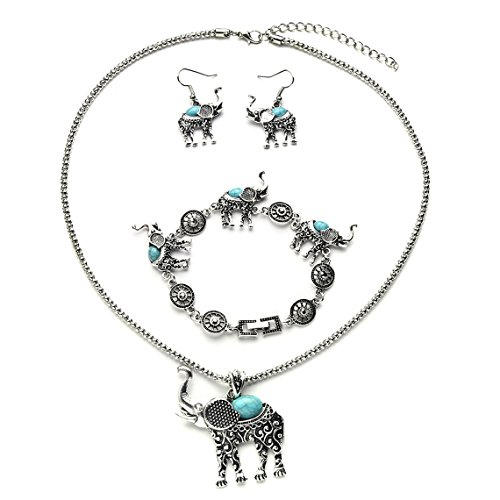 Rurah Womens Bohemian Retro Turquoise Carved Elephant Bracelet Earrings Necklace Three Piece Jewelry Set,Blue