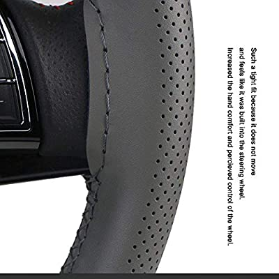 Universal Car Steering Wheel Cover Leather Breathable Design 15 Inch Diameter Cowhide Steering Handlebar Wrap Fit Most Car SUV Gray: Automotive