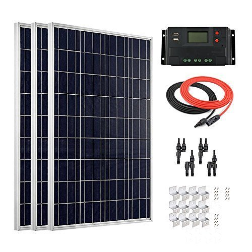 Giosolar 300W Solar Panel High Efficiency Polycrystalline Solar PV Panel with 30A LCD Controller for Motorhome, Caravan, Camper, Boat/Yacht
