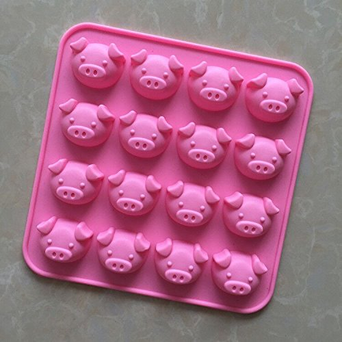 Longzang 16 Cavity Pig Silicone mold for Candy Chocolate Cake Jelly (XJ564) (Pig Chocolate Mold)