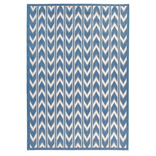 Rug Blue Bay Outdoor (Carpet Art Deco Bay Club Collection Indoor Outdoor Rug, 5'3