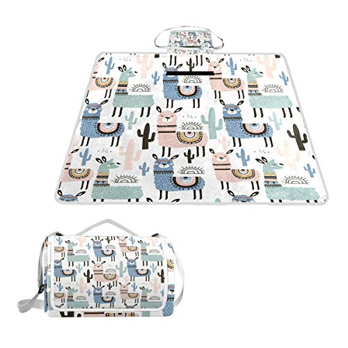 Serious Sad Llama Decoration Oversized Picnic Mat Outdoor Camping Beach Travel pad Blanket Mat Waterproof -
