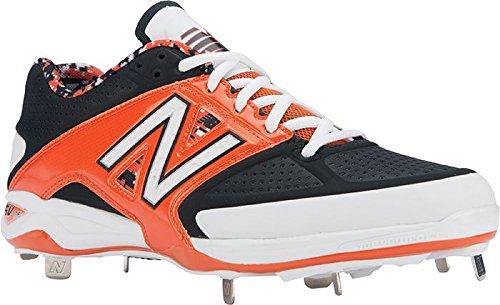 New Balance Herren L4040 Metall Low Baseball Schuh Schwarz   Orange