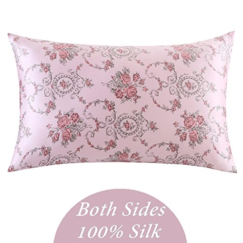 ZIMASILK 100% Pure Silk Pillowcase for Hair and Skin Health, Floral Print, Gift Packed,1pc (Queen 20''x30', pattern13)