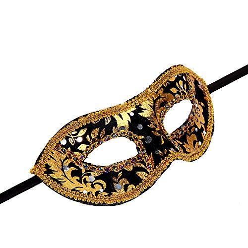 Máscara Venecia plástico venizia Fasching Máscara Facial o decoración, dorado negro y dorado