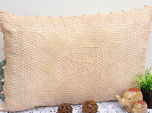 XIULIHUI Vintage Handmade Hollow Out Pillow Cover Crochet Pillow Sham for Bed 1 Piece (20×30 inches)