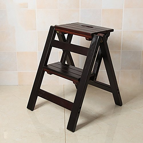 (Ladder Chair Folding Wooden 2 Step Stool, 3 Tiers Portable Step Stool Ladder Seat Versatile Home Kitchen Bathroom Office Furniture (Color : Black walnut))