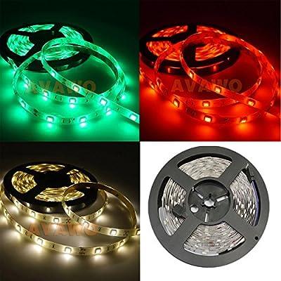 AVAWO RGB LED Strip Light Kit 5m/roll, LED Tape, Multi-colored, 5m SMD 5050 30LEDs/M 150Leds RGB LED Strip Light