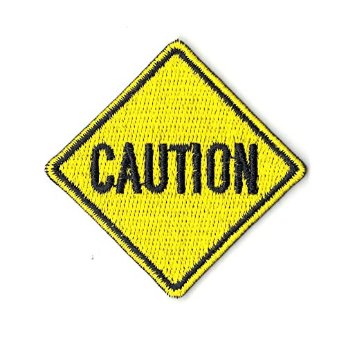 Caution Yellow Street Sign Logo Iron On Embroidered Patch
