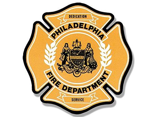 American Vinyl Philadelphia Fire Dept Maltese Shaped Sticker (Firefighter Rescue Philly pa)