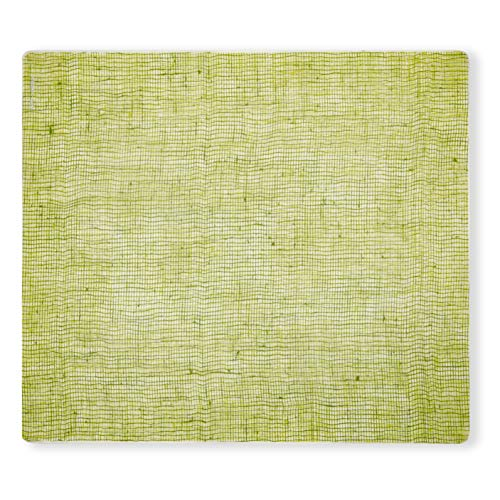 (Modern Twist Placemat Linen Apple Green 100% plastic free silicone, waterproof, adjustable, dishwasher safe, Rectangle )