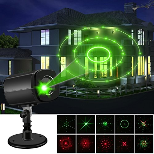 Christmas Laser Lights,Outdoor Projector lights ,Auto-Timer Waterproof,Red and Green Laser Light ,Energy-saving Creating a Twinkling Star World,Show Garden Spotlight For Xmas Holiday Party Landscape