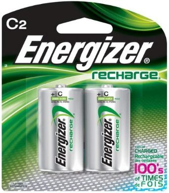 Energizer C2 Rechargeable, Size C, 2-Count (12 Sub C Battery)