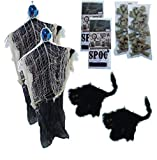 Kela Essentials Haunted Halloween 8 PC Scary Hanging Reaper Black Cat Skull and Bones and Wall Decoration Set