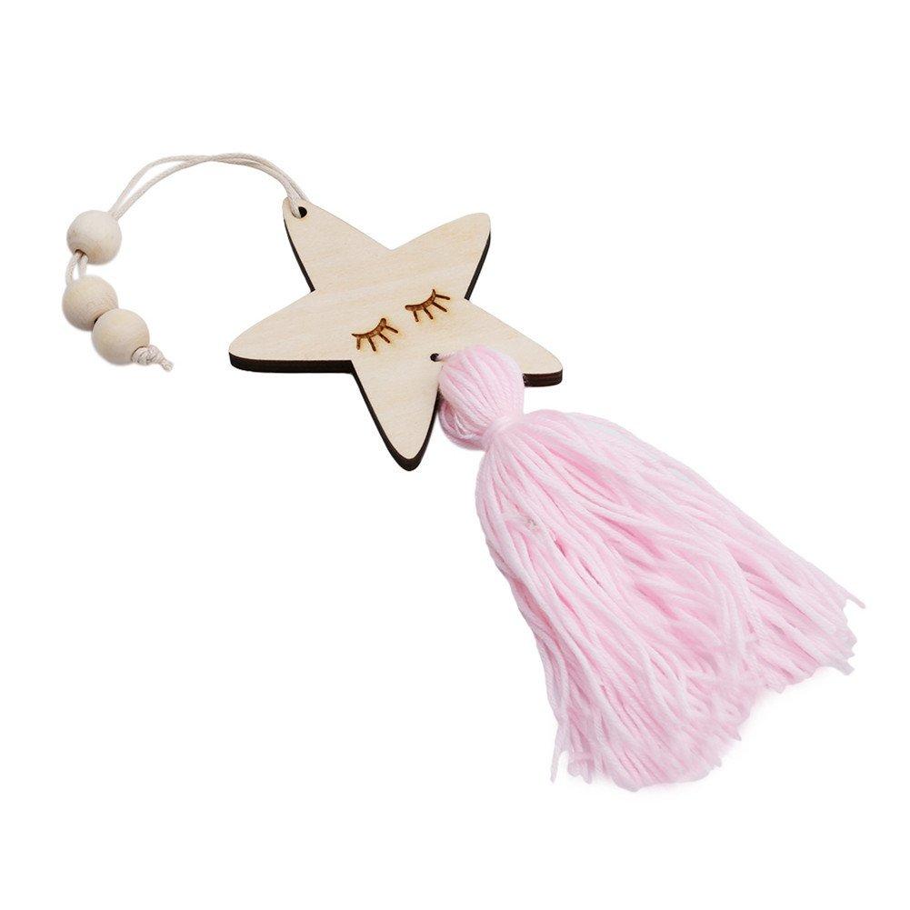 gluckliy de pared de madera para puerta armario para colgar estrellas borla adorno de decoraci/ón para habitaci/ón de los ni/ños decoraci/ón del hogar rosa Pink 2 Talla:38cm