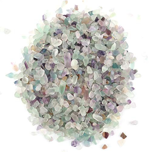 Lawei 1 lb Natural Fluorite Tumbled Chips Stone Crushed Crystal - Quartz Crystal Crystals and Healing Stones for Making Home Decoration ()