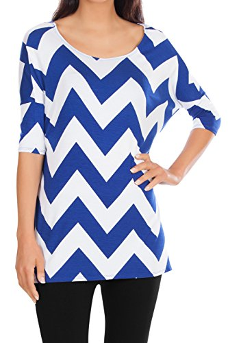 royal-blue-and-white-chevron-tunic-3-4-sleeve-long-tunics-women-tees-tunic