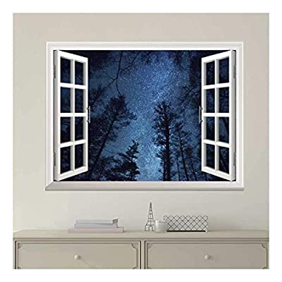 Incredible Artisanship, Premium Creation, White Window Looking Out Into The Bright Blue Starry Sky Wall Mural