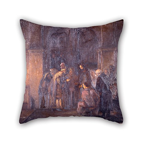 Oil Painting Hodgkins, Thomas F. - The Tribute Money (after Rembrandt) Cushion Covers 16 X 16 Inches / 40 By 40 Cm Gift Or Decor For Lover,monther,deck Chair,chair,son,study Room - Each Side