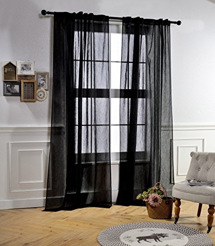 Cheap  Sheer Privacy Curtains for Living Room by MYSKY HOME Rod Pocket and..