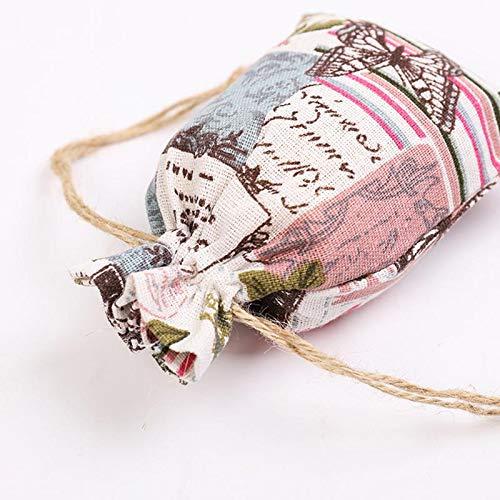 Doitsa Lot de 6pcs Sacs en Coton et Lin Pochettes Sachets avec Cordon pour F/ête de Mariage et Bricolage Blanc avec Arbre Noir