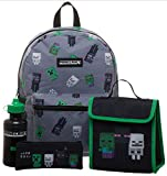 Kids 4-Piece Minecraft School Supplies Backpack, Lunchbox, Pencil Case & BPA-free Water Bottle Set