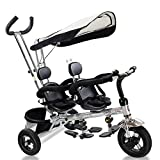 Cheap Costzon Kids Trike, 4 in 1 Twins Tricycle, 360°Rotatable Seats, Steer Stroller Detachable Canopy, Foldable Foot Pedals, Storage Basket (Tandem Tricycle, Black)