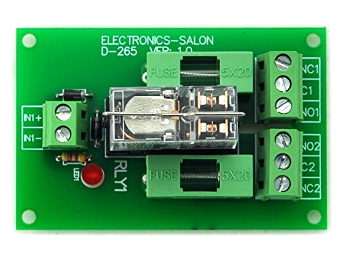 ELECTRONICS-SALON Fused DPDT 5A Power Relay Interface Module, G2R-2 12V DC Relay. by Electronics-Salon