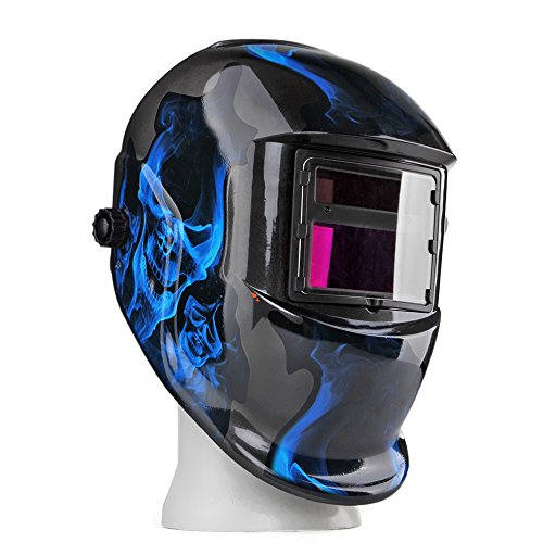Flexzion Solar Powered Welding Helmet Auto Darkening Weld/Grind Selectable Mask Tool for Arc Tig Mig Mma Grinding Plasma Cutting Blue Flame Skull Cool with Adjustable Shade Range 9-13