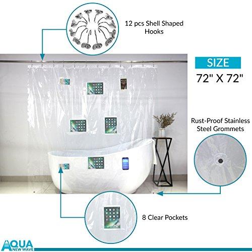 AQUA New Wave - Clear Shower Curtain Liner with Pocket Holder for Phone, Tablet and Baby Monitor - Eco-Friendly EVA Waterproof 7.2 Gauge - Touchscreen Sensitive - PVC Free - 12 Hooks - 72x72 Inches