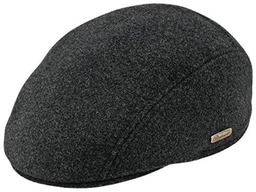 Sterkowski Warm Wool Blend Petersham Ivy League Flat Cap with Earflap US 7 3/4 Charcoal
