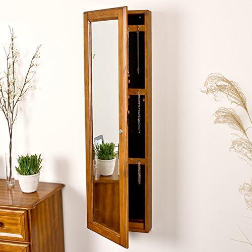 SEI Furniture Wall Mount Jewelry Mirror, Oak