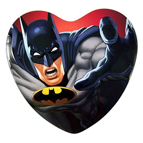 DC Comics Batman Valentine's Day Heart Tin with Chocolate Hearts, 3.38 oz (Heart Gift Tin)