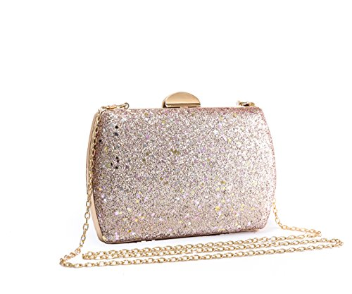 Gold Rhinestones Diamante 31 Rose And Sparkling Women's Rose Shiny Bag Different Gold Shape Evening Wedding Redfox Size Clutch Crystals PzqwEx