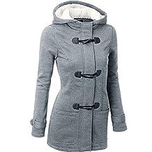Stjubileens Womens Wool Blended Classic Pea Coat Hooded Jacket Slim Overcoat