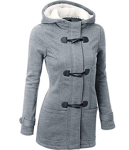 Slim Wool Jacket Coat (ST. Jubileens Womens Wool Blended Classic Pea Coat Hooded Jacket Slim Overcoat S Grey)