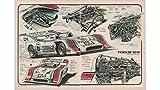 Magazine Print: Automotive Illustrator Werner Bührer, 1972 Road & Track Magazine, 8 1/2 X 11 inches, 2 page Illustration from article on Penske-Donohue Porsche 917-10