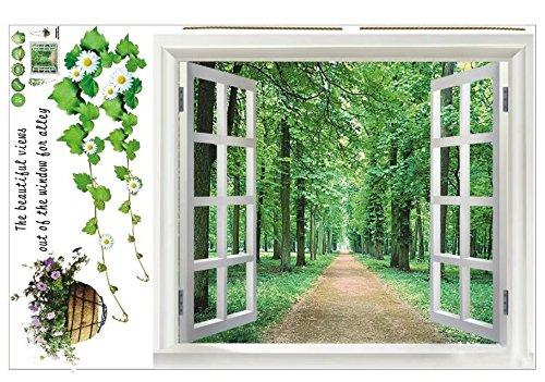 Cheap  SODIAL(R) Huge Window 3D Green View Flowers Plant Wall Stickers Art Mural..