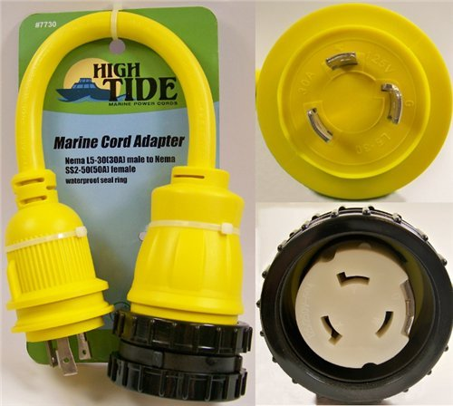 L5-30 Male to 50 Amp Female Marine Dogbone Adapter with LED Indicators (7730) by High Tide Marine Cords