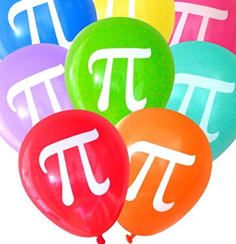 Pi Balloons (16 pcs) Assorted Colors by Nerdy Words