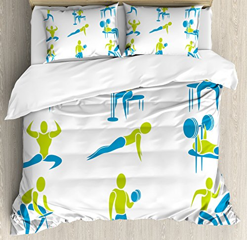 Fitness Duvet Cover Set Queen Size by Ambesonne, Set of Icon Showing Different Gym Activity Weightlifting Equipment, Decorative 3 Piece Bedding Set with 2 Pillow Shams, Sky Blue Apple Green White