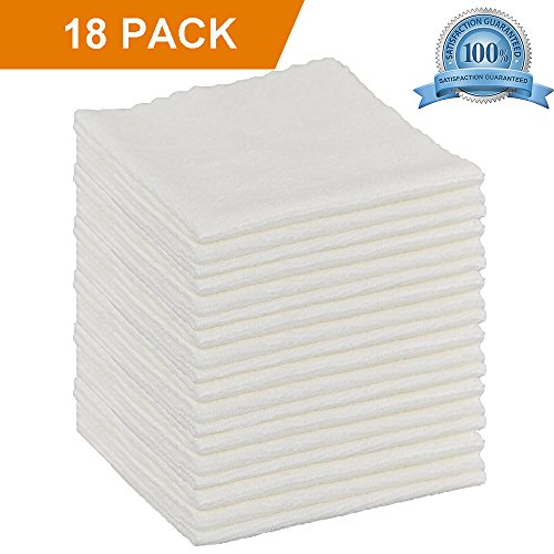FIBEROMANCE Ultra Soft Microfiber Cleaning Cloth White 12 x 12 for Kitchen House Household Cleaning Lint Free Micro Fiber Dust Cloths to Clean Car Interior Easily Remove Dust Oil Smudges (18 Pack) (Coat X 100 Of White)