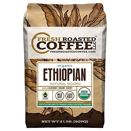 - Organic Ethiopian Natural Sidamo Coffee, Fair Trade, Whole Bean Bag, Fresh Roasted Coffee LLC. (2 LB.)