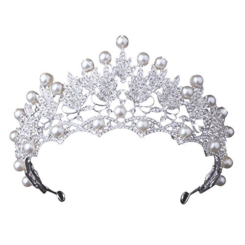 bromrefulgenc Elegant Pretty Hair Crown,Shiny Faux Pearl Hollowed Rhinestone Inlaid Hair Crown Tiara Bride Wedding Decor - White